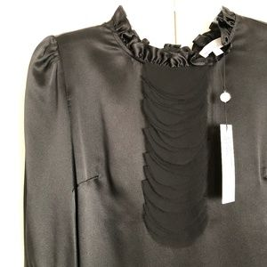 MIGUELINA Black Charmeuse Silk Blouse Sz L NWT